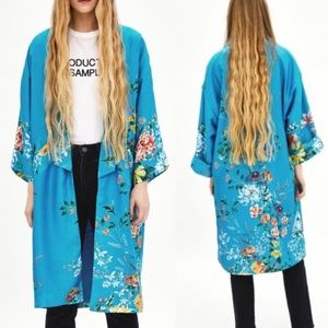 Zara TRF Womens Blue Floral Kimono Duster NWT